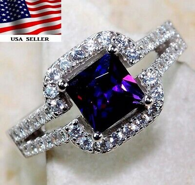 Flawless Amethyst & White Topaz 925 Solid Sterling Silver Ring Jewelry Sz 8