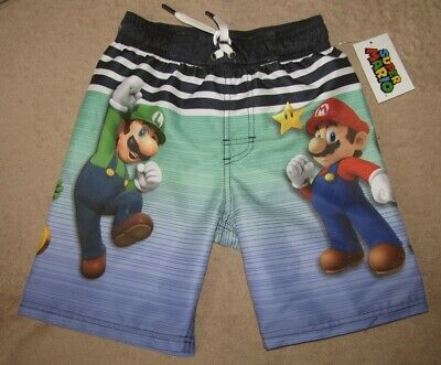 5af53f6359 NINTENDO Super Mario Bros *Characters* Blue Swim Trunks Beach Shorts Boys  sz 6/