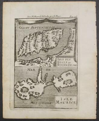 Staaten Island Maurice Island Russia 1719 Alain Manesson Mallet Antique Map