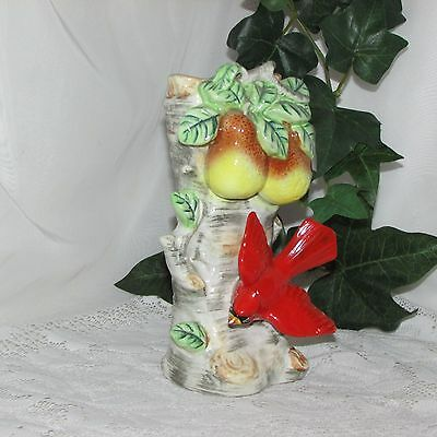 Vintage Ceramic Vase Red Bird Pear Tree Hand Painted Art Pottery Cardinal Japan