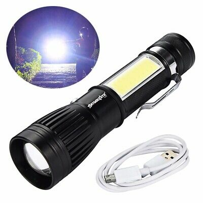 1000LM T6 COB Flashlight Zoomable LED Torch 18650 USB Rechargeable Light Lamp