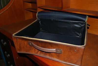 Vintage 1970's Brown Qantas Soft Luggage Case Leather Look (Great History)