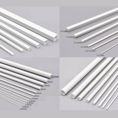 250mm Long White ABS Styrene Plastic Rod Tube Round Square Solid Bar Strip