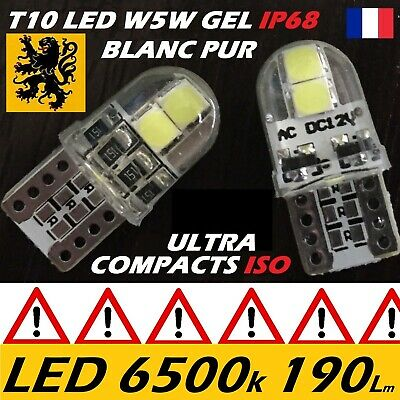 8 x T10 W5W LED 4 SMD 190Lm BLANC 6500K 12V 0,8W BIPOLAIRE GEL IP68 ISO COMPACT