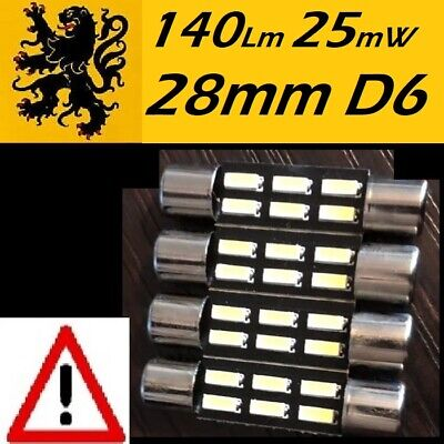 4 x Navettes 28 29mm SLIM Fusible LED 6 SMD 4014 140Lm Blanc Pur 6500k 12V 0,25W