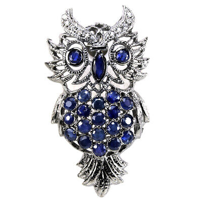 Genuine Blue Sapphire Marquise & White Cz Sterling 925 Silver Owl Brooch