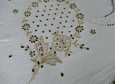 """ANTIQUE MADEIRA TABLECLOTH-HAND EMBROIDERED-50""""sq.LINEN"""