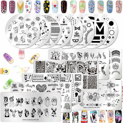 NICOLE DIARY Rectangle Nail Art Stamping Plates Nature World Stamp Template Toos