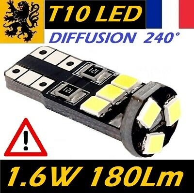 8x T10 W5W LED 9 SMD - 150 Lm Blanc 6000k 12V 1.6 W Lames Compacts 25mm ISO 270°