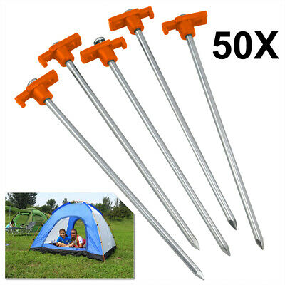50X Heavy Duty Tent Pegs Hard Ground Rock Pegs Camping Tent Awning Metal Orange