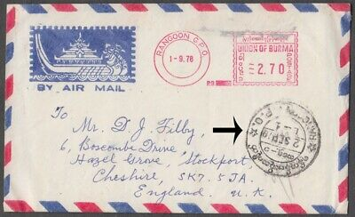 Burma 1976 Scarce Meter Franked Airmail Cover To Uk