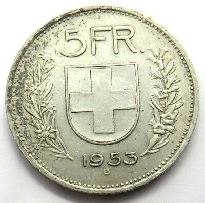1953 Switzerland Silver 5 Francs Coin