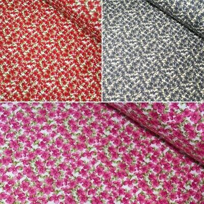 100% Cotton Poplin Fabric Rose & Hubble Tiny Floral Flowers Myers Meadow