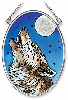 """Amia Stained Glass Suncatcher 3.25"""" X 4.5"""" Midnight Song Wolf  #5555"""