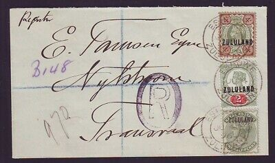 ZULULAND SUPERB REGISTERED 1896 COVER to TRANSVAAL