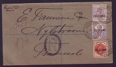 ZULULAND SUPERB REGISTERED 1896 COVER to TRANSVAAL SCARCE 5d