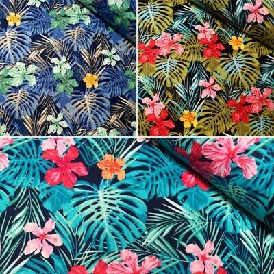 100% Cotton Poplin Fabric Rose & Hubble Tropical Leaves Flowers Floral