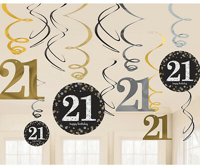 12 X 21st Birthday Hanging Swirls Black Silver Gold Party Decorations Age 21