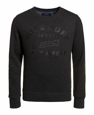 New Mens Superdry Factory Second The Industry Over Dyed Crew Jumper Black