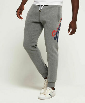 New Mens Superdry Vintage Logo Tri Colour Joggers Dark Trophy Grey Mar