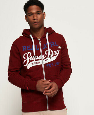 New Mens Superdry Heritage Classic Zip Hoodie Red Hook Grit
