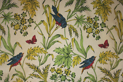 Boussac Curtain Vintage French Drape colorful floral and bird pattern left panel