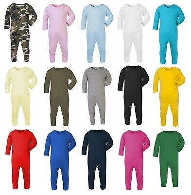 100% Cotton BABY BOY/GIRL Plain Chest Babygrow Bodysuit Sleepsuit Rompersuit