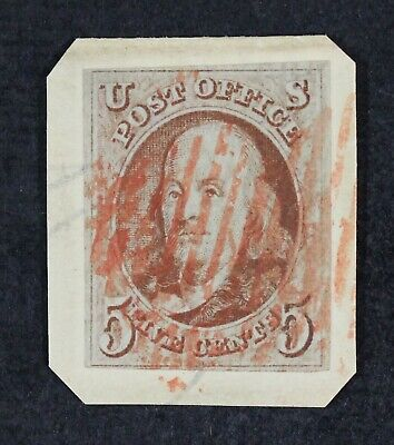 CKStamps: US Stamps Collection Scott#1 5c Franklin Used on Piece