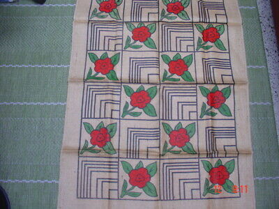 Vtg Rug Hooking Pattern Pa. Dutch Squares with Red Roses in Color by H H Jackson