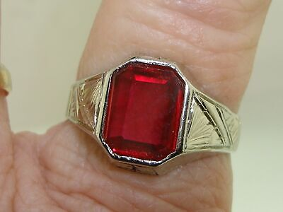 Elegant Antique Art Deco 14K White Gold Approx. 2+ Ctw Ruby Ring! Sz 10