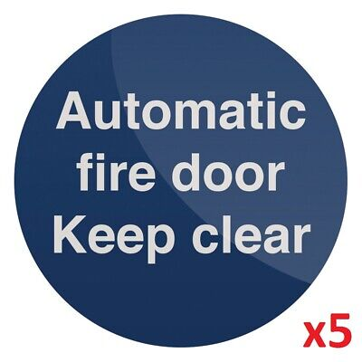 5 x Automatic Fire Door Warning Caution Sign 100 x 100mm Rigid PL Emergency New