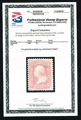 CKStamps: US Stamps Collection Scott#65 3c Washington Mint LH OG with PSE Cert