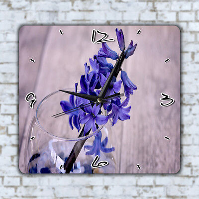 Blue Flowers Glass Wall Clock Office Kitchen Home Decor Kids Room Bedroom Gift