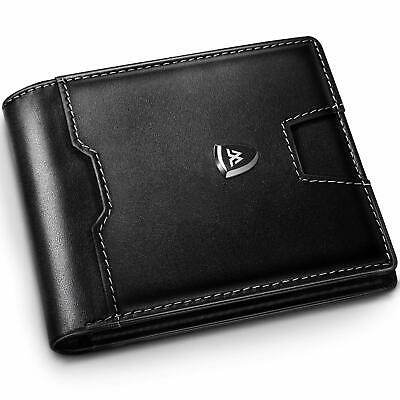 Wallets Mens RFID Blocking with Post Card & Flannelette Bag,Trifold Slim Genuine