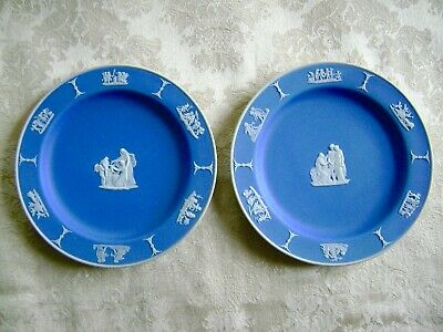 "Vintage Pair Of Wedgwood Cobalt Blue Dipped Jasperware 7"" Dessert Plates"