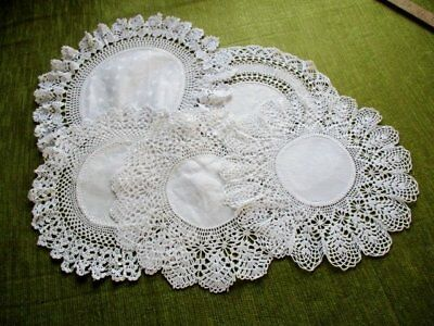 ANTIQUE DOILIES with CROCHET EDGE - COLL.OF 5