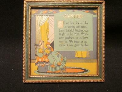 "Mother All We Have Learned 1930  Vintage Framed 4.5 X 4.5"" Plaque Motto-Graph?"