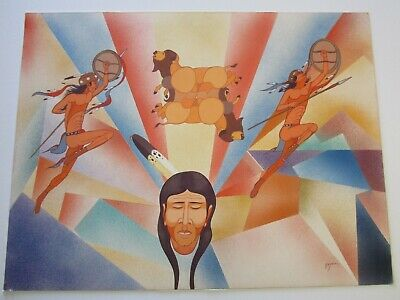 30 INCH PAINTING INDIAN WARRIOR SPIRITUAL NAVAJO Beatien (Little No Shirt) Yazz