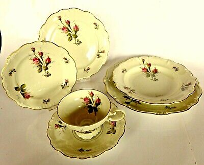 Mint Rosenthal Moss Rose Pompadour 6 Pc Setting. Exquisite