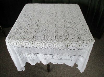 """VINTAGE TABLECLOTH ALL HAND CROCHET - 58"""" sq. - WHITE"""