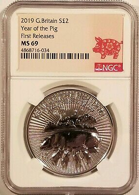2019 G.Britain Year of the Pig 1oz .999 Fine Silver NGC MS69 - First Release