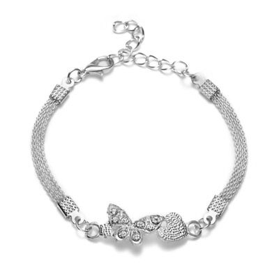 Fashion Crystal Silver Animal Insect Butterfly Bangle Women Bracelets Jewelry