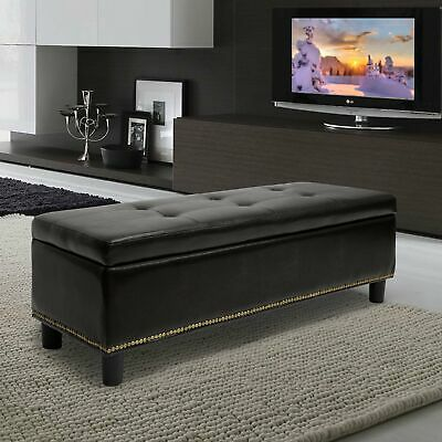 Baxton Studio Lucero Bonded Leather Storage Dark Brown Ottoman