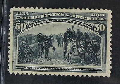 CKStamps: US Stamps Collection Scott#240 50c Mint H OG Gum Crease, Top Spot Thin