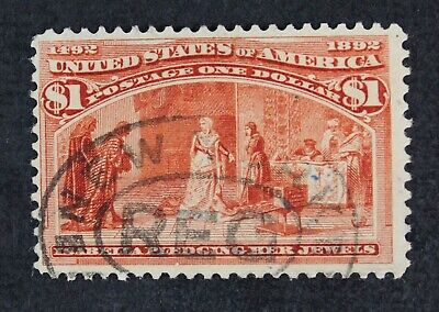 CKStamps: US Stamps Collection Scott#241 $1 Columbian Used Tiny Thin CV$600