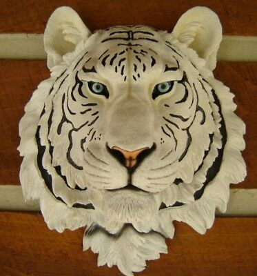 White Siberian Tiger Flush Mount Wall Head Large Jungle Rustic Cat