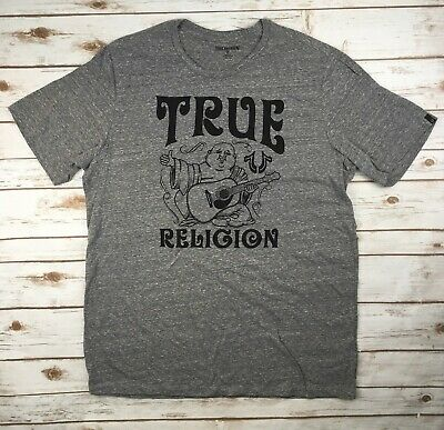 c71836ff True Religion Jeans Buddha Crew Graphic Logo T-shirt Grey Heather Big Tall  1X