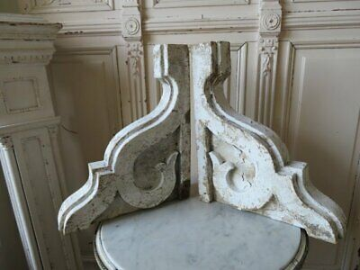 AMAZING PAIR Old Architectural CORBELS ORNATE Chippy White Ornate Good Size