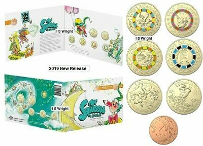 Australia: 2019 4 x Coloured $2, 2 x $1 & 1c Mr Squiggle and Friends Mint Pack