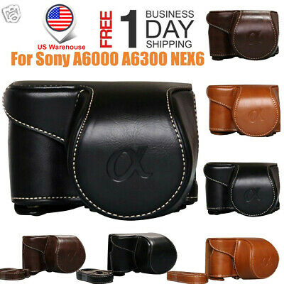 2019Vintage PU Leather Camera Bag Case Cover Pouch For Sony A6000 A6300 NEX6 USA